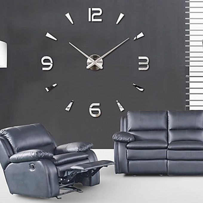as seen on tv nouveau mode creative diy en m tal 3d simple num rique horloge murale argent. Black Bedroom Furniture Sets. Home Design Ideas