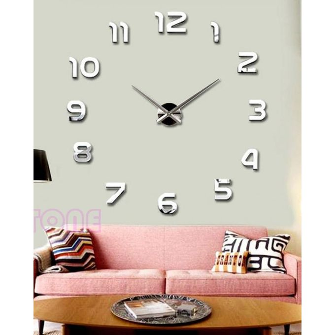 horloge murale design 3d argent achat en ligne sur lcd maroc. Black Bedroom Furniture Sets. Home Design Ideas
