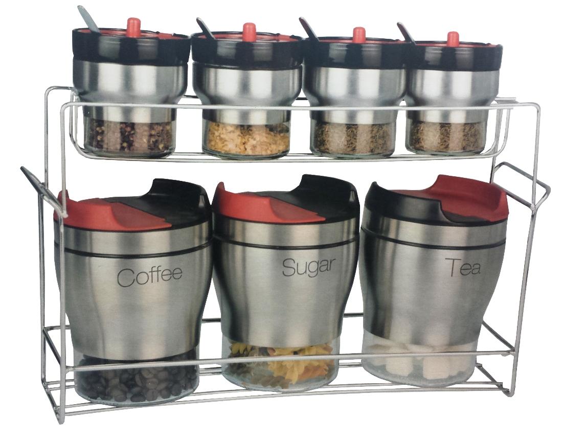 set des 8 pots pour th sucre caf et des pices inox 4 cuill re achat en ligne sur lcd maroc. Black Bedroom Furniture Sets. Home Design Ideas