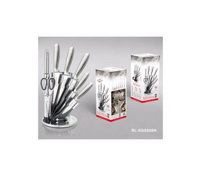 set de 5 couteaux en inox avec ciseau fusil et support. Black Bedroom Furniture Sets. Home Design Ideas